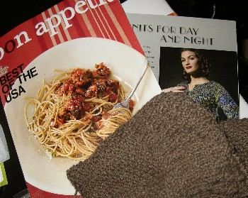 doesn't everyone knit next to a huge plate of uneaten food?